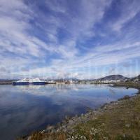 Blick auf den Hafen von Ushuaia, Feuerland