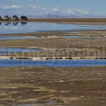 Geparkte Geländewagen am Rande des Salzsees Uyuni