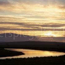Landschaft bei Varmahlíð zum Sonnenuntergang
