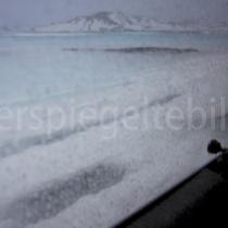 Blick durch die Autoscheibe in die Landschaft von Friðland að Fjallabaki, Island