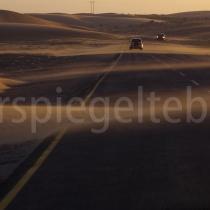 Strasse am Rande der Namib-Wüste