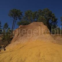 Ockersteinbruch von Roussillon in Ockertönen und mit Bäumen