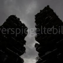 Bosco Verticale Hochhäuser mit Bepflanzung in Schwarz-Weiss aus der Froschperspektive bei starker Bewölkung