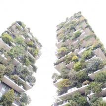 Bosco Verticale Hochhäuser mit Bepflanzung aus der Froschperspektive mit Überblichtung