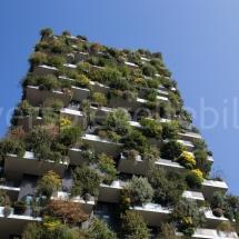 Bosco Verticale Hochhäuser mit Bepflanzung Ausschnitt des oberen Teils vor blauem Himmel