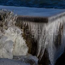 Vereistes Ufer mit Steinen uns Büschen am Bodensee